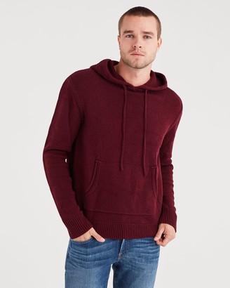 7 For All Mankind Marled Sweater Hoodie in Dark Burgundy