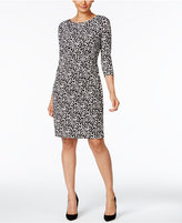 NY Collection Printed Ruched Sheath Dress