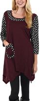 Aster Burgundy & Black Polka Dot Handkerchief Tunic - Plus Too