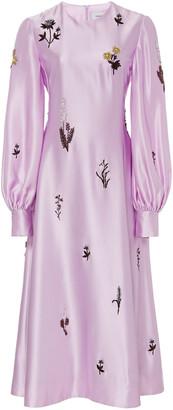 Erdem Annetta Embellished Silk-Satin Midi Dress