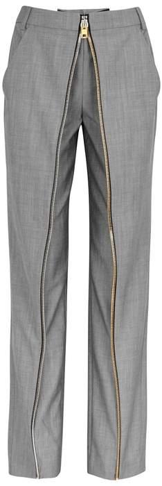 Alexander Wang Deconstructed Zipped Wool-blend Trousers