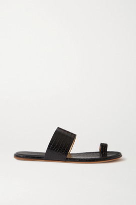 Gabriela Hearst Croc-effect Glossed-leather Sandals - Black