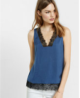 Express deep square neckline lace trim tank