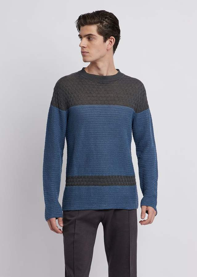 1f9f255ee6 Two-Tone Pure Linen Crew-Neck Sweater In Tuck Stitch