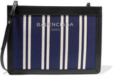 Balenciaga Leather-trimmed Striped Canvas Shoulder Bag - Blue