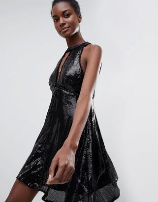 Raga After Dark Halterneck Sequin Dress-Black