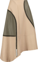 Tibi Eska embroidered cutout leather skirt