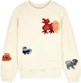 Loewe Cream Animal-appliqued Cotton Sweatshirt