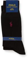 Polo Ralph Lauren 2 Pack Mercerized Flat Knit Solid Socks