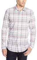 Calvin Klein Jeans Men's Bold Variegated Check Roll Tab Long Sleeve Button Down Shirt