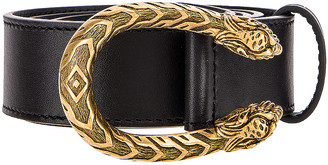 Gucci Leather Dionysus Buckle Belt in Black | FWRD