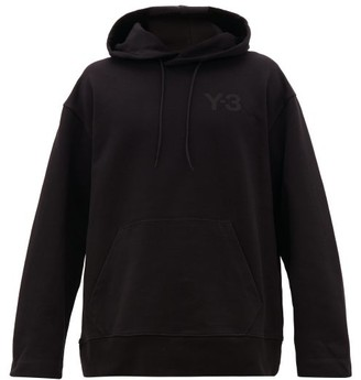 Y-3 Logo-patch Cotton-jersey Hooded Sweatshirt - Black