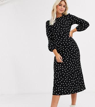 New Look tie waist long sleeve midi dress in black polka dot ASOS exclusive