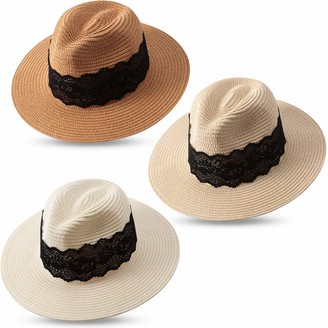 Satinior 3 Pieces Women Panama Straw Hat Wide Brim Straw Hat Roll up Cap Beach Sun Hat (Khaki