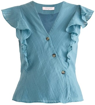 Paisie Fairlight Frill Wrap Top In Teal