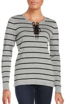 Calvin Klein Lace-Up Striped Sweater