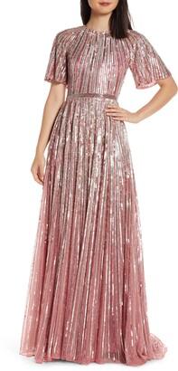 Mac Duggal Sequin Stripe Gown