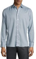 Etro Geometric-Print Cotton Shirt, Blue/White