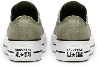 Converse Chuck Taylor All Star Platform Lift Canvas Ox Plimsolls - Green/White