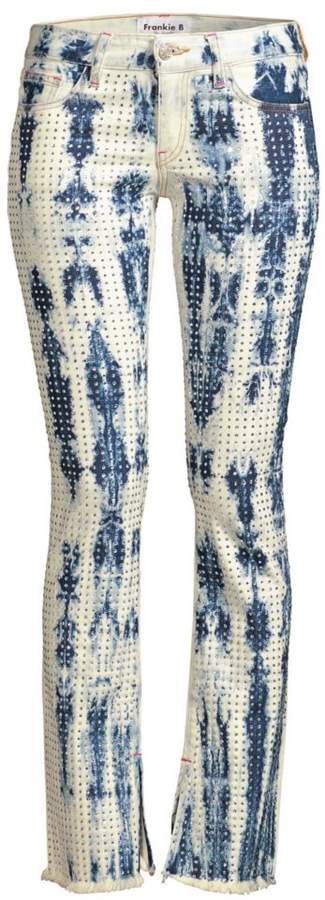 Frankie B. Kate Crystal Low-Rise Flare Jeans