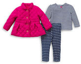Little Me Baby Girls Quilted Jacket, Top and Pants Set