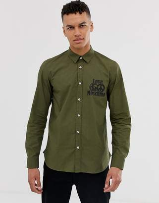 Love Moschino long sleeve shirt in khaki with logo-Green