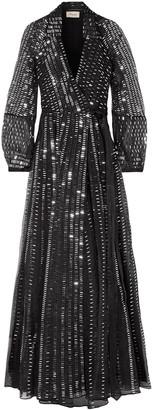 Temperley London Jet Sequined Silk Wrap Dress