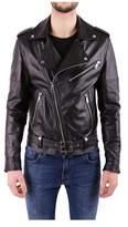 Numero 00 Numero00 Men's Black Leather Outerwear Jacket.