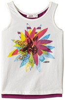 Junior Gaultier White Tank Top with Flower Over A Purple Tank Top Girl's Sleeveless
