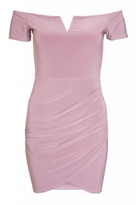 Quiz Mauve Wrap Front Bardot Dress