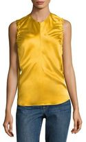 Helmut Lang Armhole Ruched Silk Tank Top