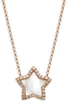 Effy 14K Rose Gold, Mother-Of-Pearl White Diamond Star Pendant Necklace
