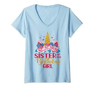 Womens Cute Sister Of The Birthday Girl Unicorn Floral Outfit V-Neck T-Shirt
