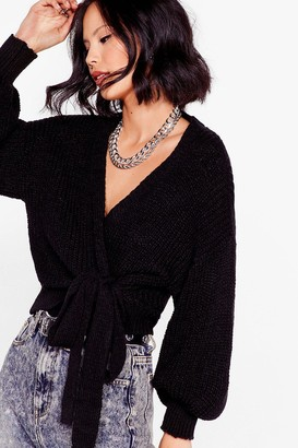 Nasty Gal Womens Take the Wrap Knitted Tie Cardigan - Black