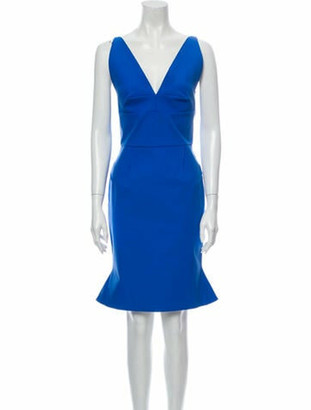 Roland Mouret V-Neck Knee-Length Dress w/ Tags Blue