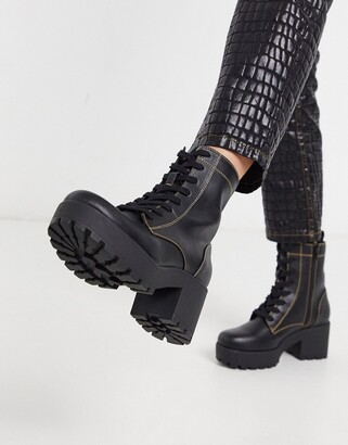 London Rebel chunky lace up military boot in black