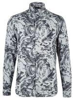 Burton Burton Grey Long Sleeve Printed Viscose Shirt