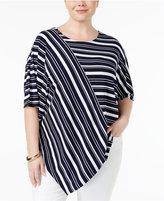 Alfani Plus Size Striped Asymmetrical-Hem Top, Only at Macy's