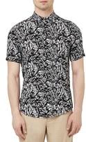 Topman Men's Hawaiian Print Short Sleeve Woven Shirt