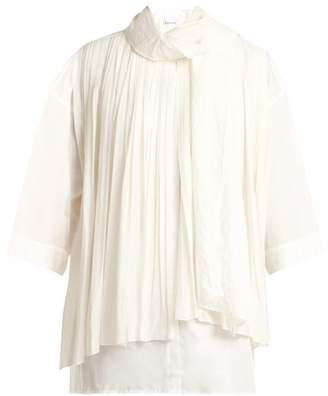 Lemaire Pleated Silk And Cotton Foulard Blouse - Womens - White
