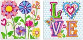 Oopsy Daisy Fine Art For Kids Too Hearts and Flowers 2-Piece Canvas Wall Art