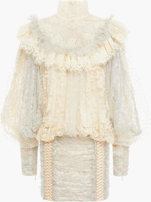 Zimmermann Swiss-dot Tulle-paneled Ruffled Metallic Cotton-blend Lace Mini Dress