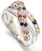 colorzNshades 1 CT TW Multi-Color Sapphire Sterling Silver Ring with Zircon Accents