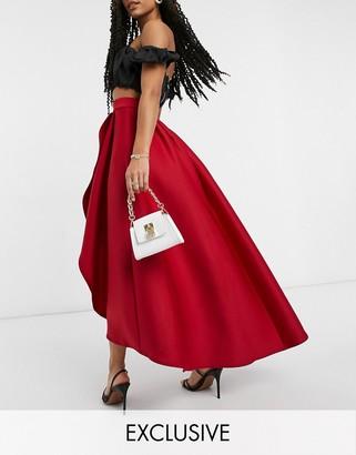 True Violet exclusive high low midaxi skirt in deep red