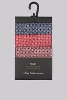 Moss Bros Multi Geo 3 Pack Pocket Squares