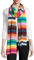 Faliero Sarti Hippy Ribbed Cashmere Scarf, Multicolor