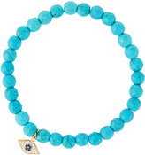 Tai Beaded Stretch Bracelet w/ Pave Evil Eye Charm, Turquoise