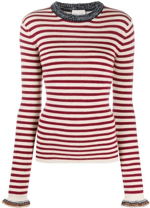 Forte Forte Long Sleeve Striped Knitted Top