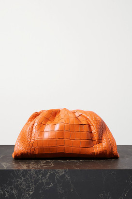 Bottega Veneta The Pouch Large Gathered Alligator Clutch - Orange