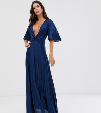 Asos Tall DESIGN Tall twist detail pleated kimono maxi dress-Blue